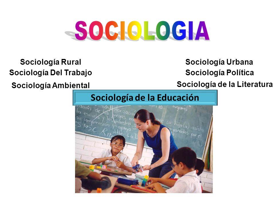 Sociología RuralSociología Urbana Sociología PolíticaSociología Del Trabajo Sociología de la Educación Sociología Ambiental Sociología de la Literatur