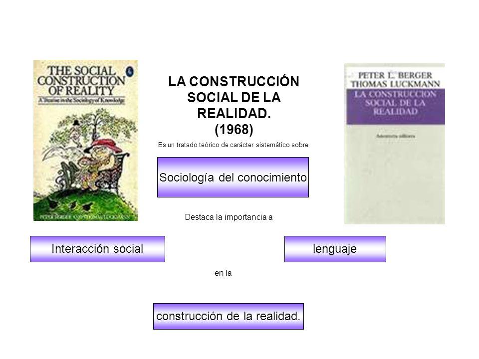 Sociología del conocimiento construcción de la realidad. Interacción sociallenguaje LA CONSTRUCCIÓN SOCIAL DE LA REALIDAD. (1968) Es un tratado teóric