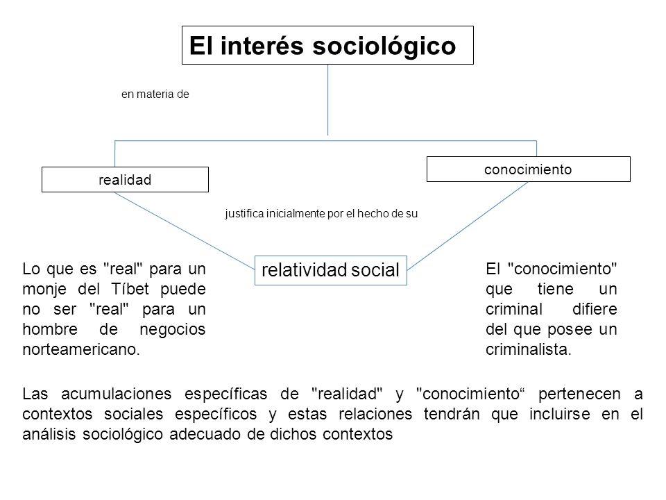 realidad conocimiento relatividad social El interés sociológico en materia de El