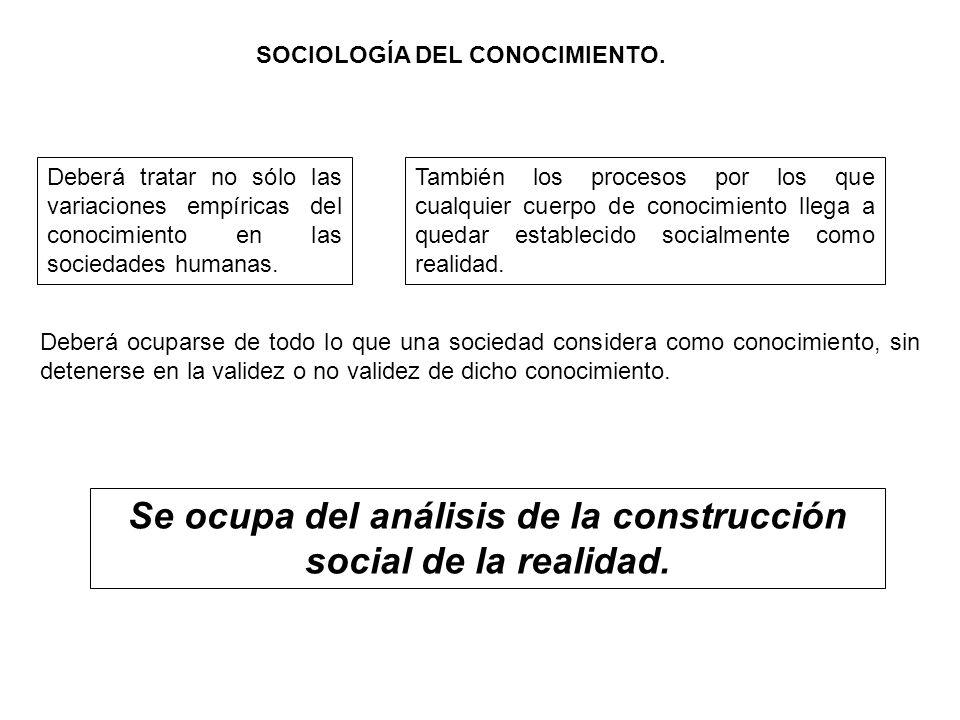 SOCIOLOGÍA DEL CONOCIMIENTO. Deberá tratar no sólo las variaciones empíricas del conocimiento en las sociedades humanas. También los procesos por los