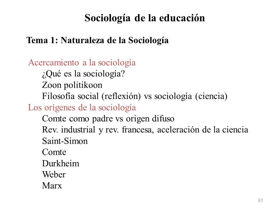 81 Sociología de la educación Tema 1: Naturaleza de la Sociología Acercamiento a la sociología ¿Qué es la sociología? Zoon politikoon Filosofía social