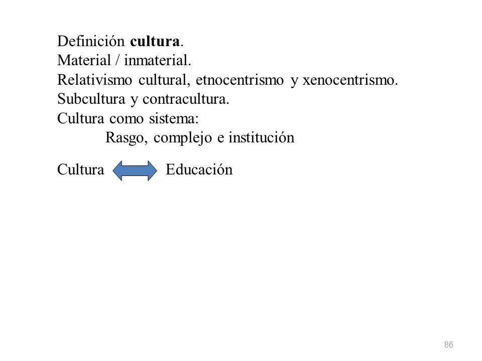86 Definición cultura. Material / inmaterial. Relativismo cultural, etnocentrismo y xenocentrismo. Subcultura y contracultura. Cultura como sistema: R