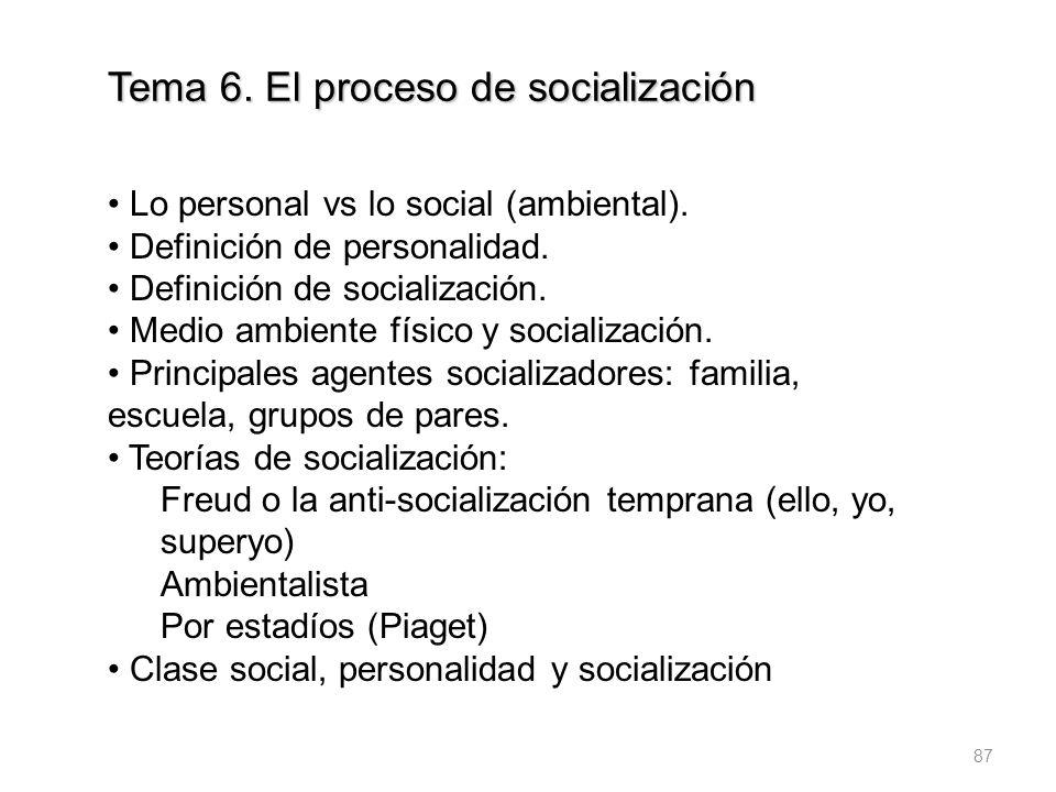 87 Tema 6. El proceso de socialización Lo personal vs lo social (ambiental). Definición de personalidad. Definición de socialización. Medio ambiente f