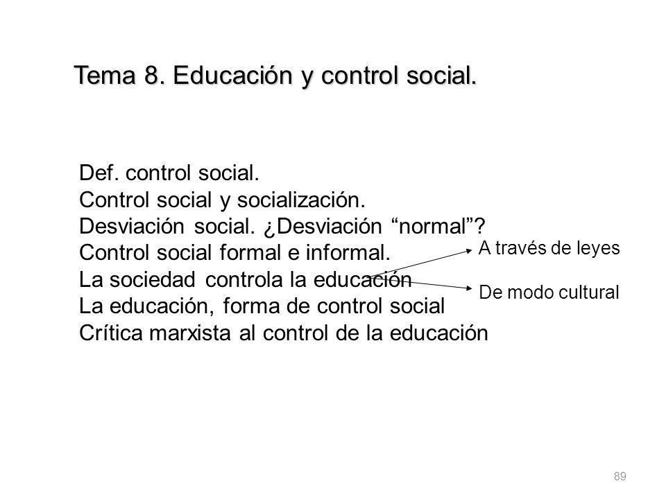 89 Tema 8. Educación y control social. Def. control social. Control social y socialización. Desviación social. ¿Desviación normal? Control social form