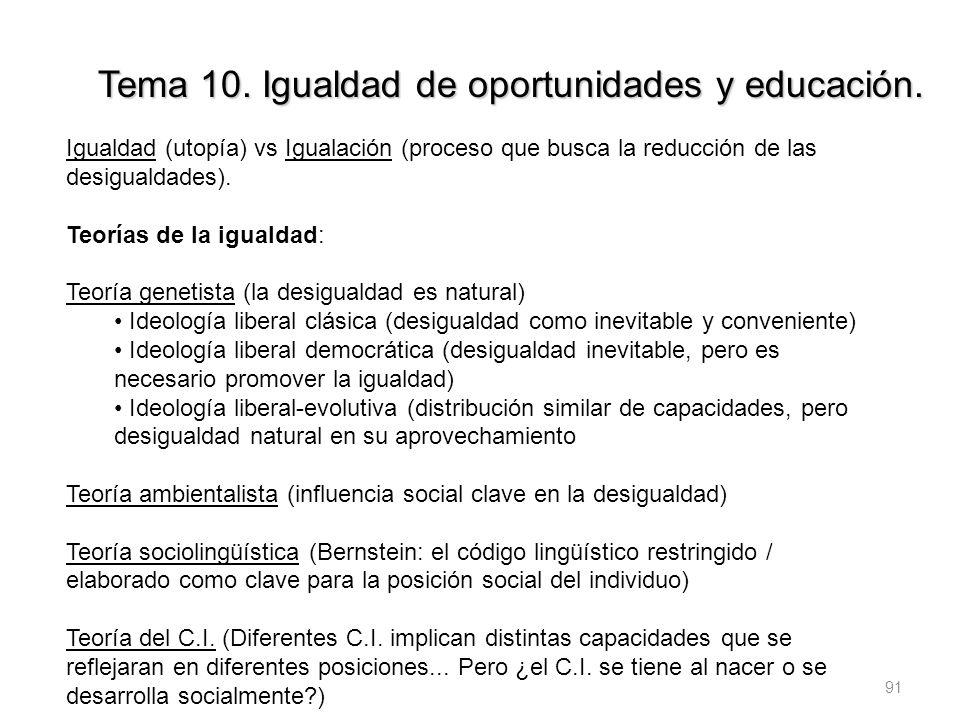 91 Tema 10. Igualdad de oportunidades y educación. Igualdad (utopía) vs Igualación (proceso que busca la reducción de las desigualdades). Teorías de l