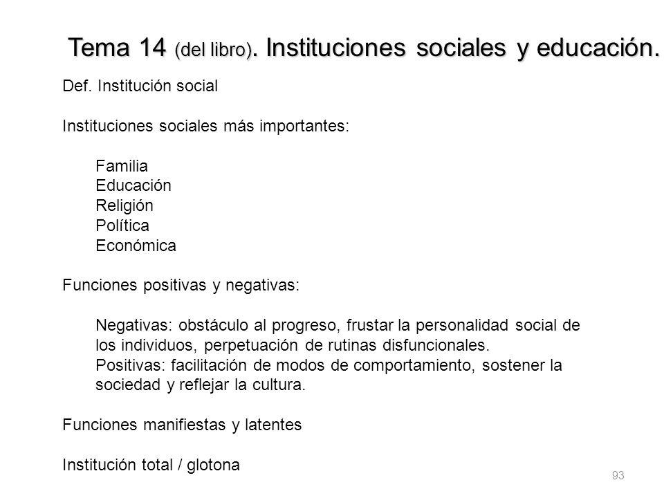 93 Tema 14 (del libro). Instituciones sociales y educación. Def. Institución social Instituciones sociales más importantes: Familia Educación Religión