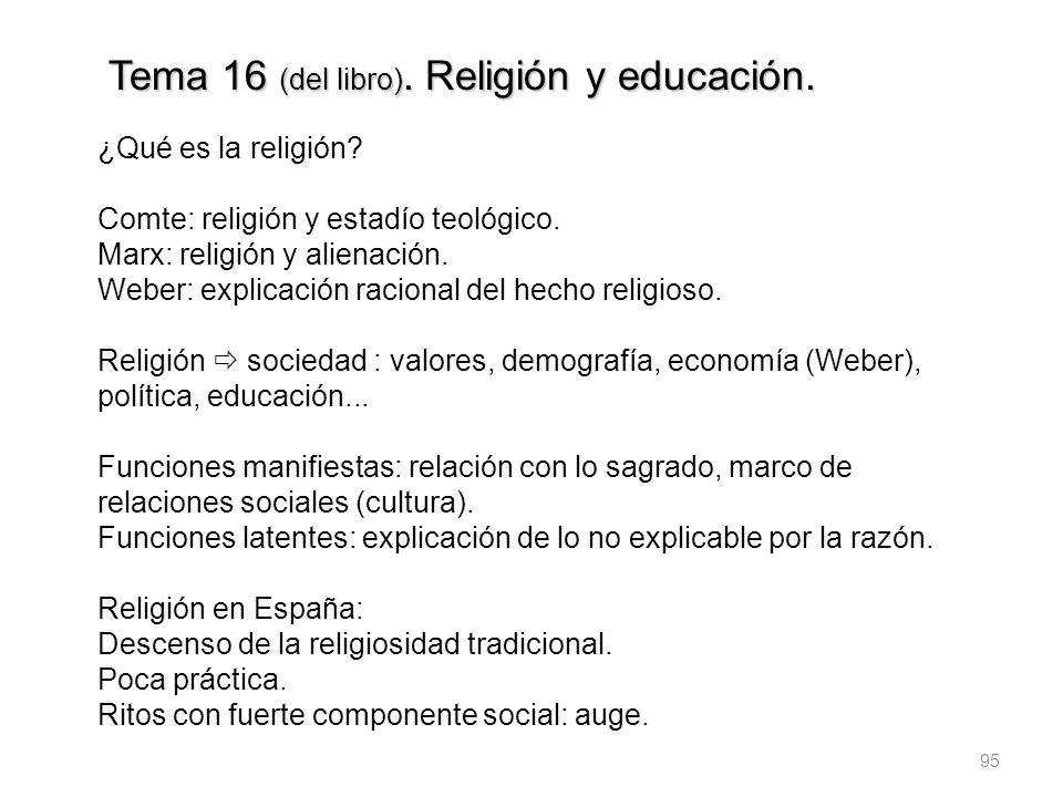 95 Tema 16 (del libro). Religión y educación. ¿Qué es la religión? Comte: religión y estadío teológico. Marx: religión y alienación. Weber: explicació