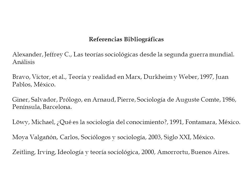 Referencias Bibliográficas Alexander, Jeffrey C., Las teorías sociológicas desde la segunda guerra mundial. Análisis Bravo, Víctor, et al., Teoría y r