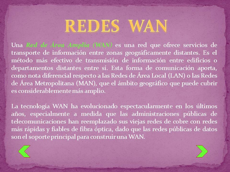 Una Red de Área Amplia (WAN) es una red que ofrece servicios de transporte de información entre zonas geográficamente distantes. Es el método más efec