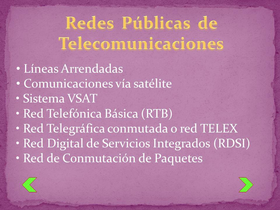 Líneas Arrendadas Comunicaciones vía satélite Sistema VSAT Red Telefónica Básica (RTB) Red Telegráfica conmutada o red TELEX Red Digital de Servicios