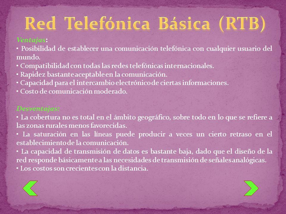 Ventajas: Posibilidad de establecer una comunicación telefónica con cualquier usuario del mundo. Compatibilidad con todas las redes telefónicas intern