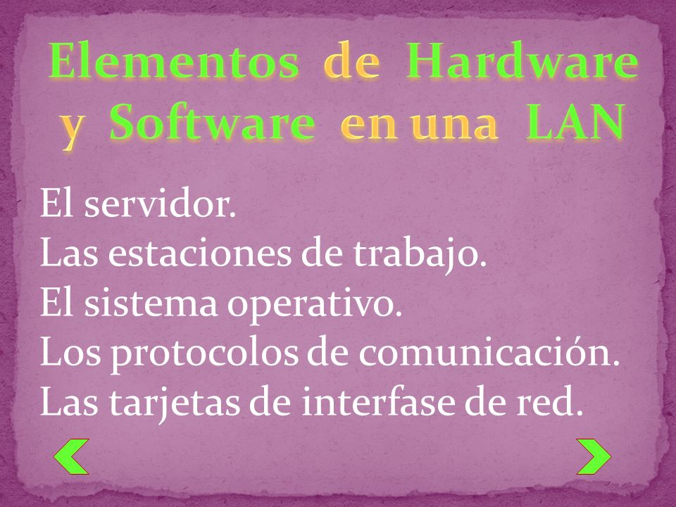 El servidor. Las estaciones de trabajo. El sistema operativo. Los protocolos de comunicación. Las tarjetas de interfase de red.