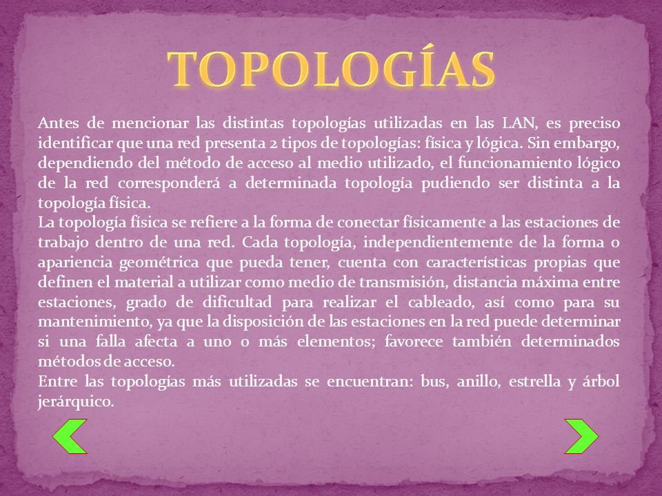Antes de mencionar las distintas topologías utilizadas en las LAN, es preciso identificar que una red presenta 2 tipos de topologías: física y lógica.