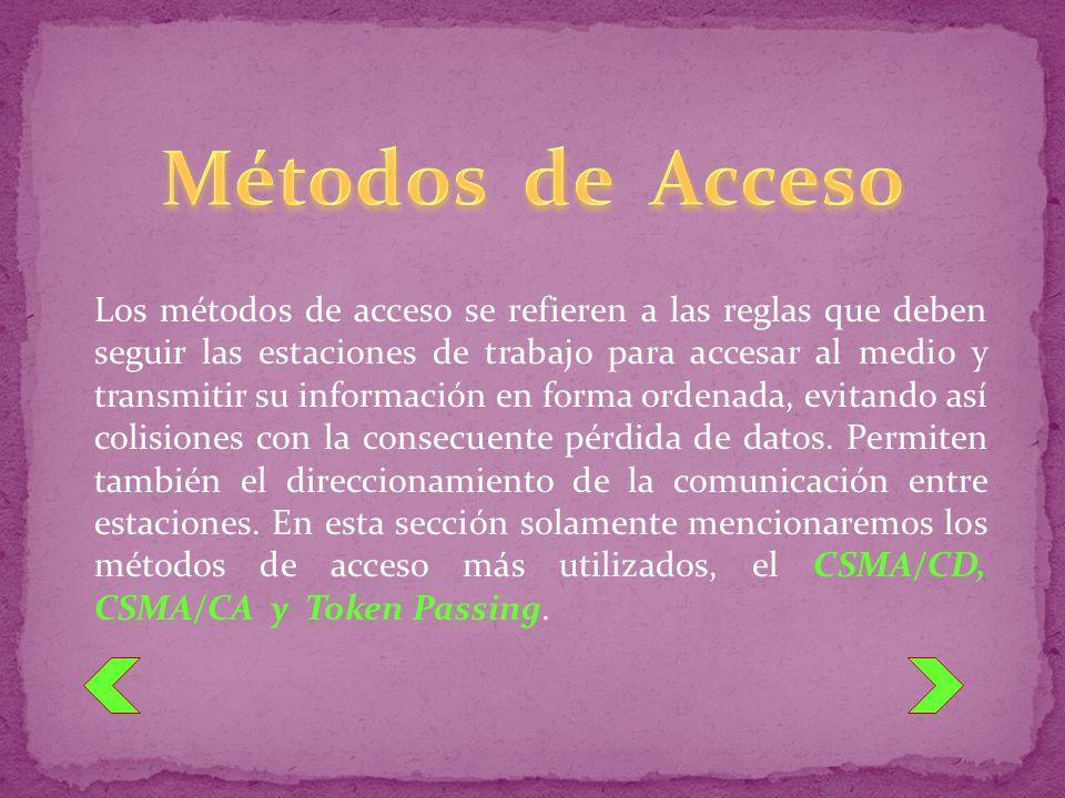 Los métodos de acceso se refieren a las reglas que deben seguir las estaciones de trabajo para accesar al medio y transmitir su información en forma o