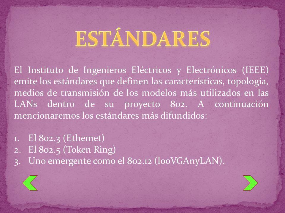 El Instituto de Ingenieros Eléctricos y Electrónicos (IEEE) emite los estándares que definen las características, topología, medios de transmisión de