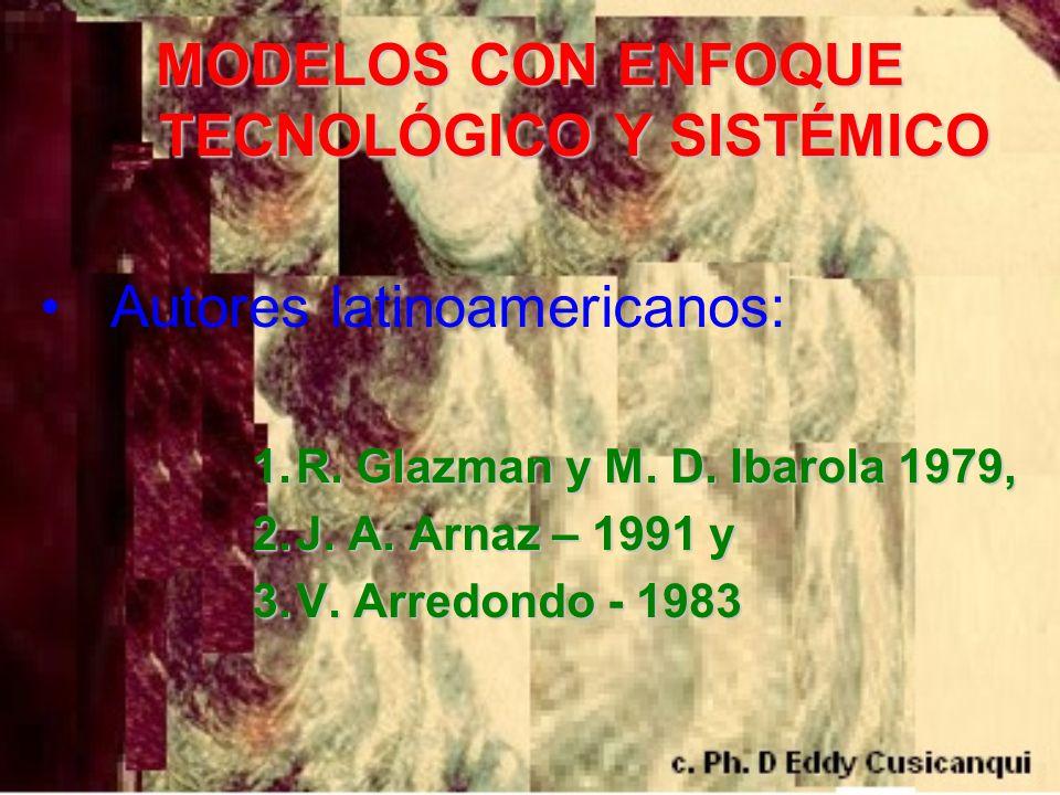 MODELOS CON ENFOQUE TECNOLÓGICO Y SISTÉMICO Autores latinoamericanos: 1.R. Glazman y M. D. Ibarola 1979, 2.J. A. Arnaz – 1991 y 3.V. Arredondo - 1983