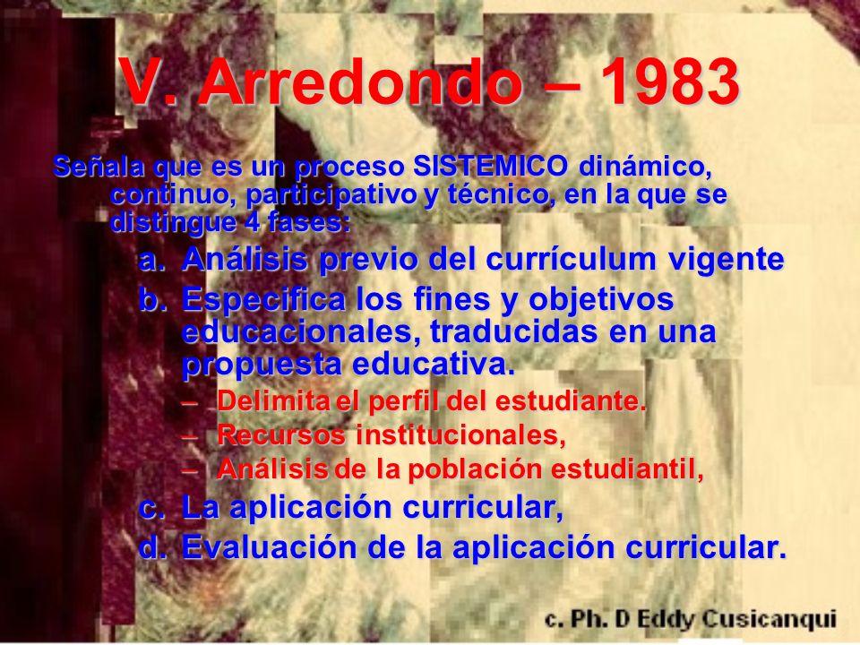V. Arredondo – 1983 Señala que es un proceso SISTEMICO dinámico, continuo, participativo y técnico, en la que se distingue 4 fases: a.Análisis previo