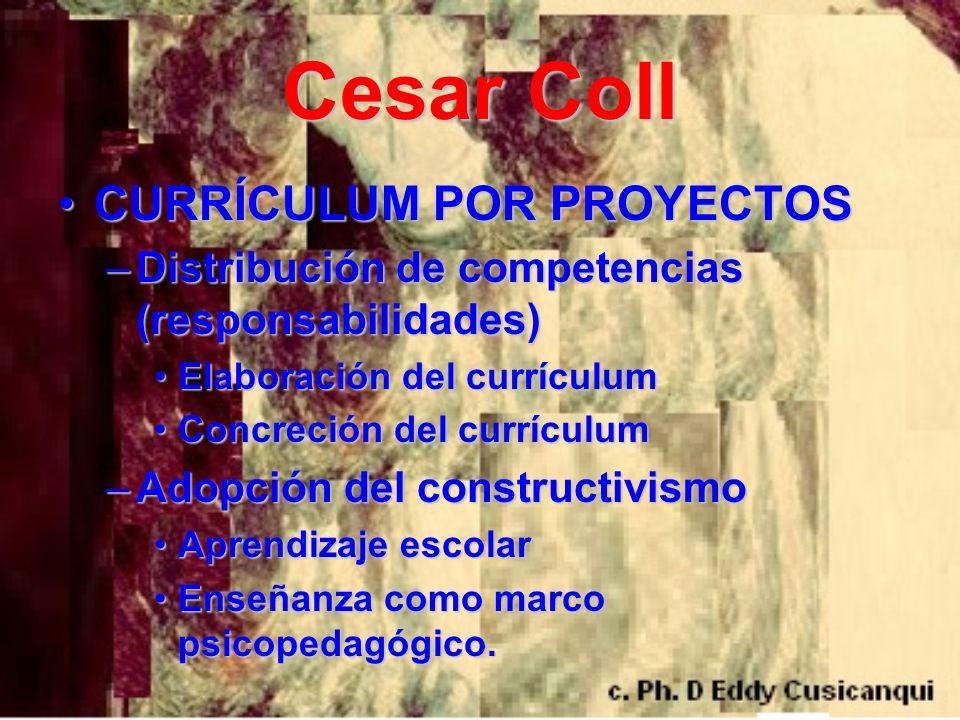 Cesar Coll CURRÍCULUM POR PROYECTOSCURRÍCULUM POR PROYECTOS –Distribución de competencias (responsabilidades) Elaboración del currículumElaboración de