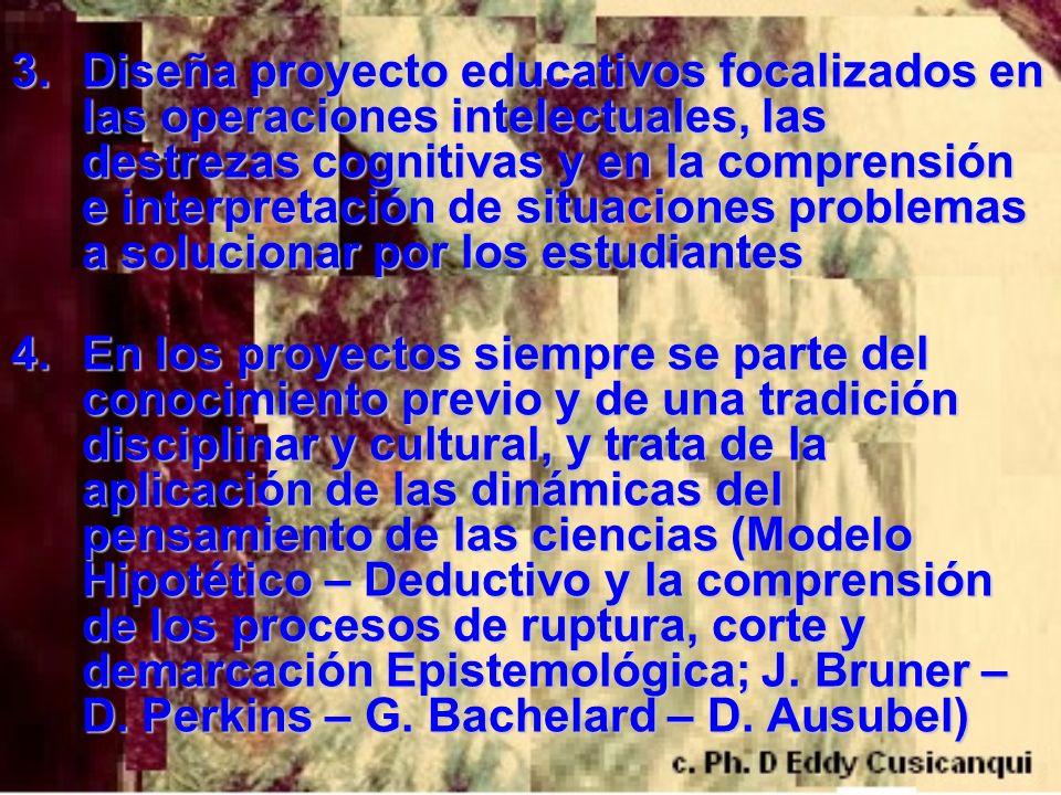 3.Diseña proyecto educativos focalizados en las operaciones intelectuales, las destrezas cognitivas y en la comprensión e interpretación de situacione