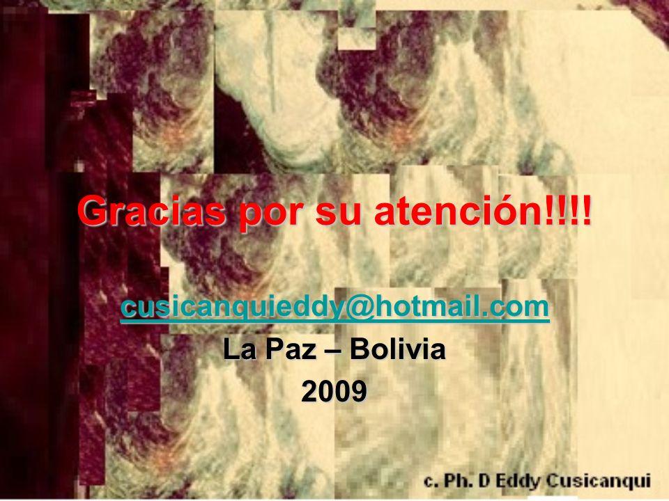 Gracias por su atención!!!! cusicanquieddy@hotmail.com La Paz – Bolivia 2009