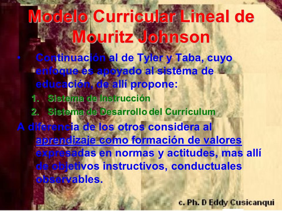 Criterios de Resultados de Estructuración Currículum(serie) Estructura de aprendizaje pretendidos.