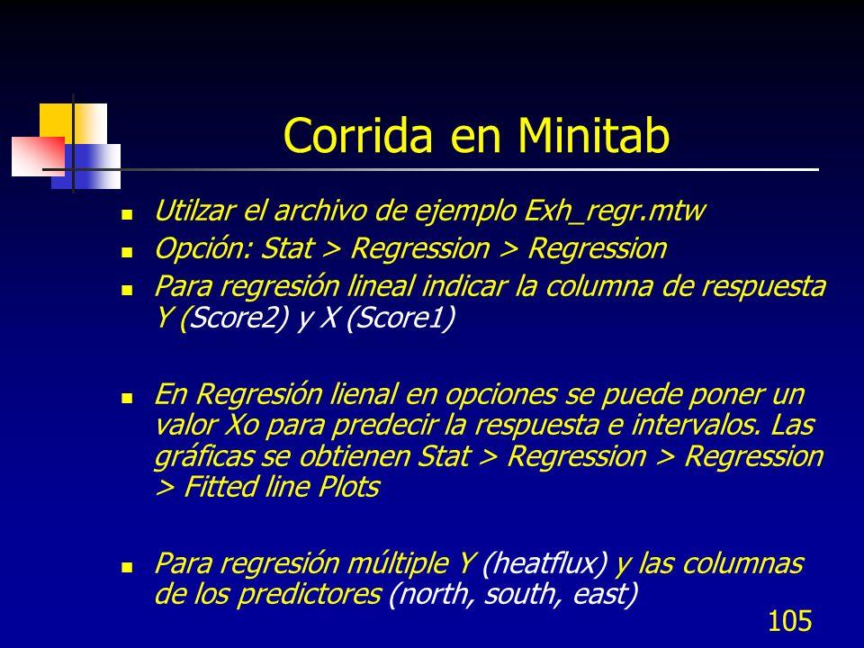 105 Corrida en Minitab Utilzar el archivo de ejemplo Exh_regr.mtw Opción: Stat > Regression > Regression Para regresión lineal indicar la columna de r