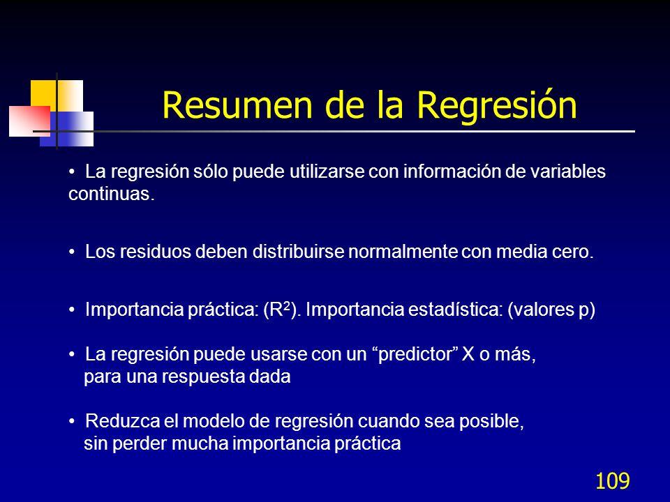 109 La regresión sólo puede utilizarse con información de variables continuas. Los residuos deben distribuirse normalmente con media cero. Importancia