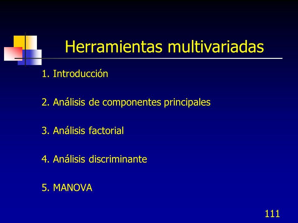 111 Herramientas multivariadas 1. Introducción 2. Análisis de componentes principales 3. Análisis factorial 4. Análisis discriminante 5. MANOVA