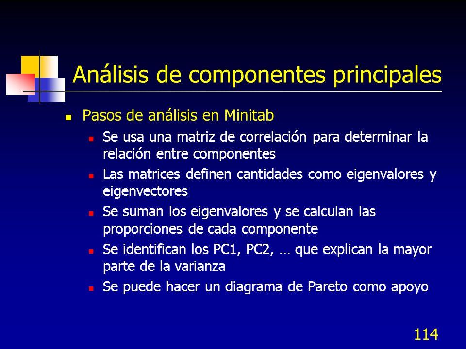 114 Análisis de componentes principales Pasos de análisis en Minitab Se usa una matriz de correlación para determinar la relación entre componentes La