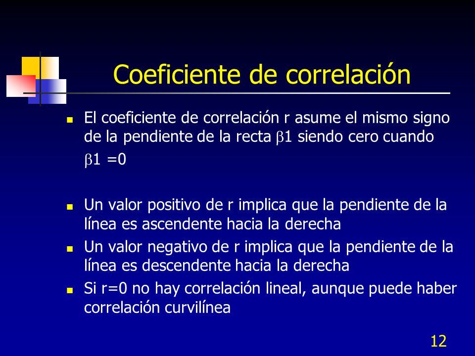 12 Coeficiente de correlación El coeficiente de correlación r asume el mismo signo de la pendiente de la recta 1 siendo cero cuando 1 =0 Un valor posi