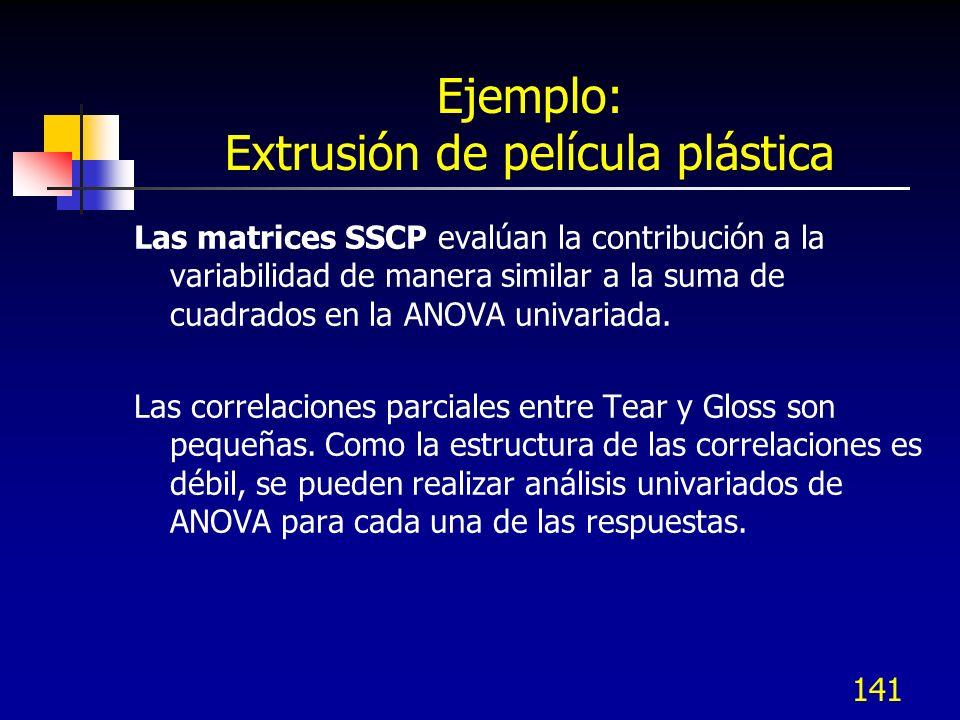 141 Ejemplo: Extrusión de película plástica Las matrices SSCP evalúan la contribución a la variabilidad de manera similar a la suma de cuadrados en la