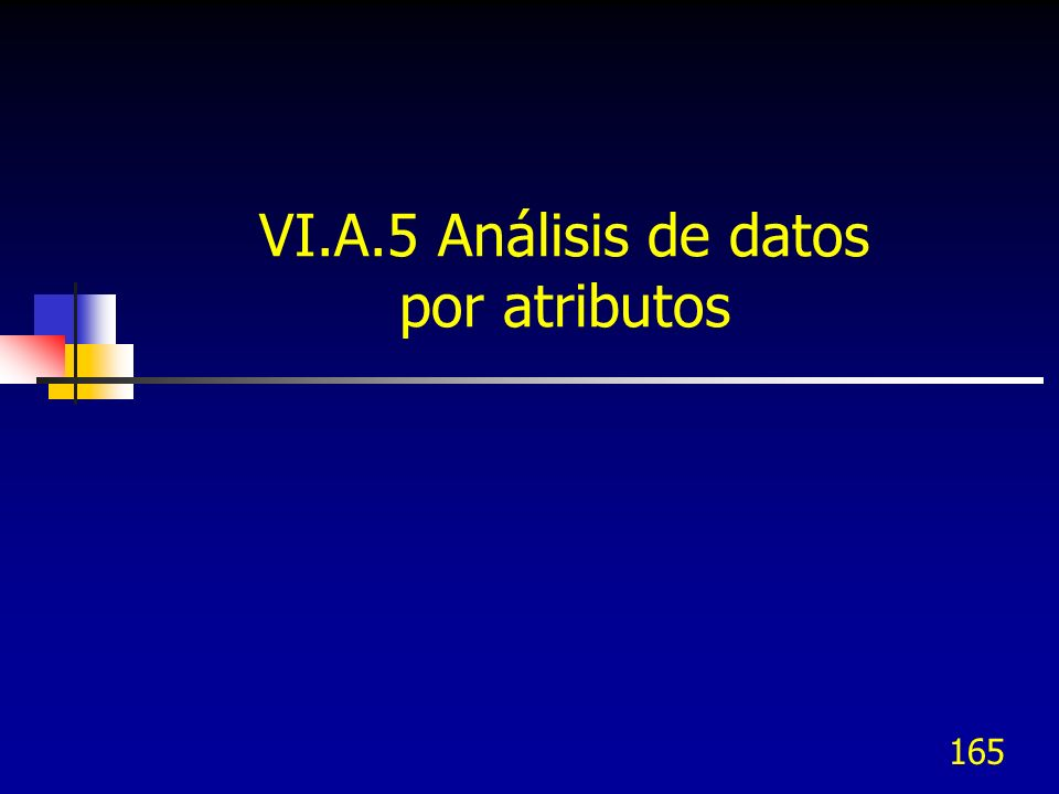 165 VI.A.5 Análisis de datos por atributos