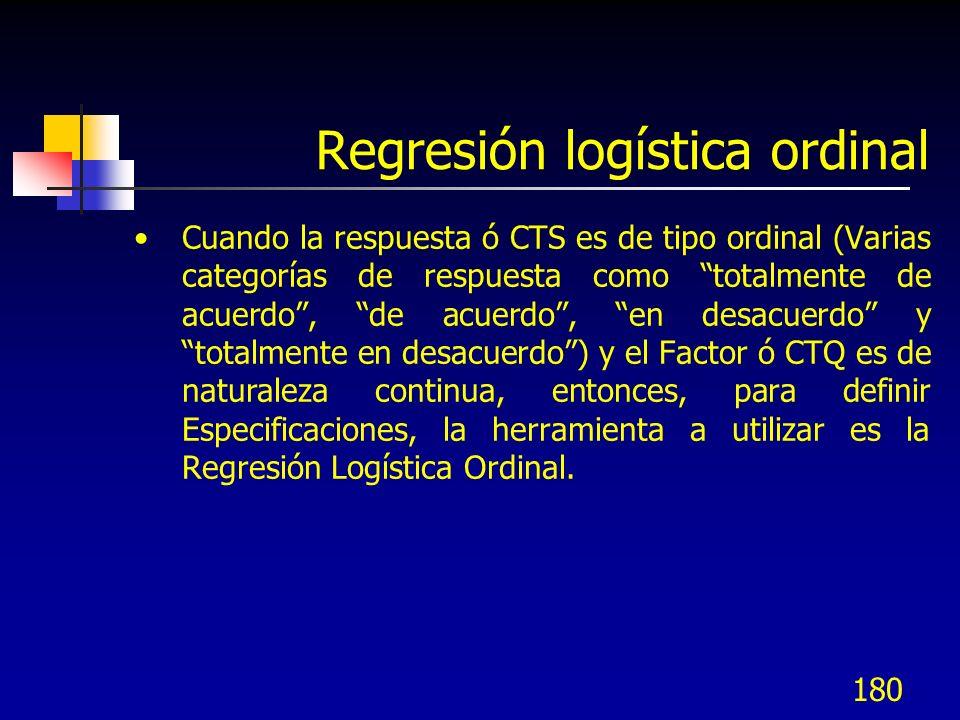 180 Regresión logística ordinal Cuando la respuesta ó CTS es de tipo ordinal (Varias categorías de respuesta como totalmente de acuerdo, de acuerdo, e