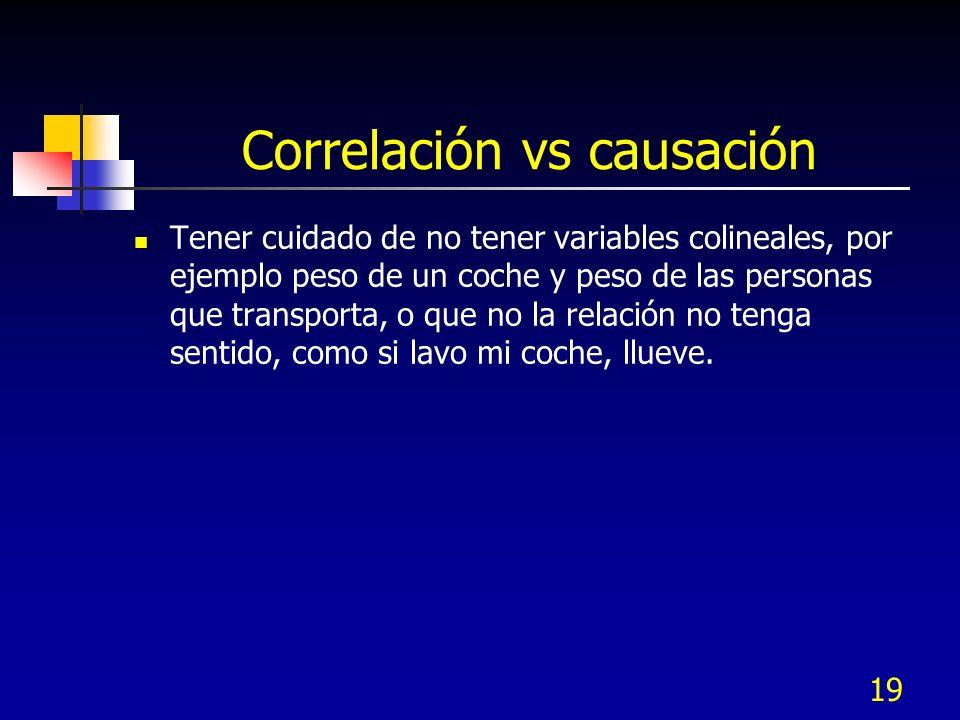 19 Correlación vs causación Tener cuidado de no tener variables colineales, por ejemplo peso de un coche y peso de las personas que transporta, o que