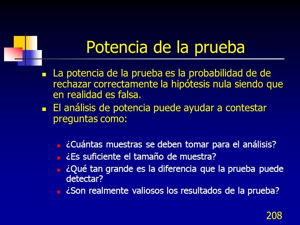 208 Potencia de la prueba La potencia de la prueba es la probabilidad de de rechazar correctamente la hipótesis nula siendo que en realidad es falsa.