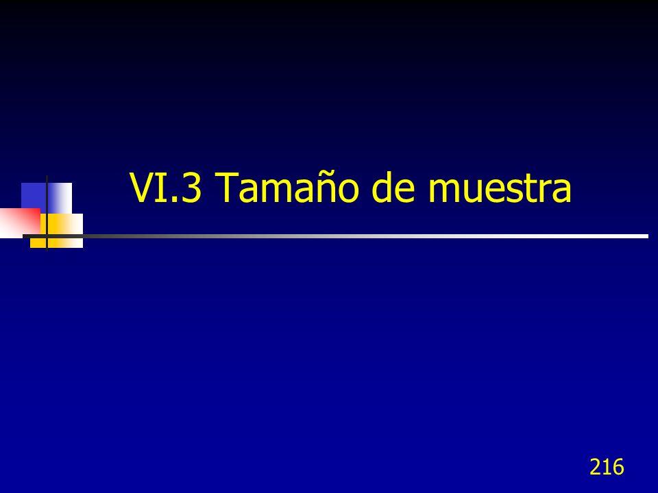 216 VI.3 Tamaño de muestra
