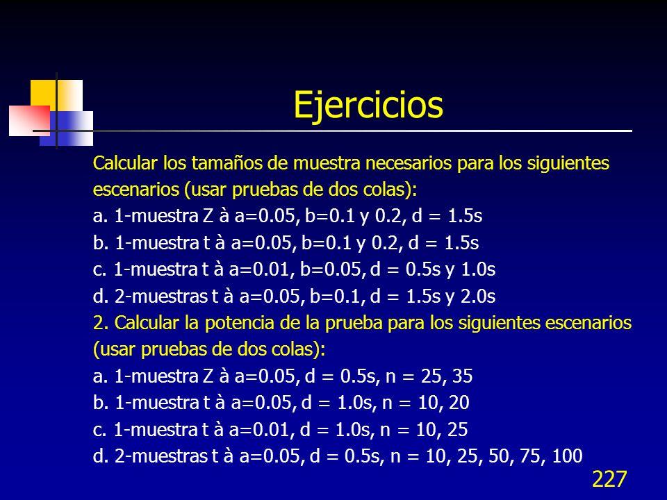 227 Ejercicios Calcular los tamaños de muestra necesarios para los siguientes escenarios (usar pruebas de dos colas): a. 1-muestra Z à a=0.05, b=0.1 y