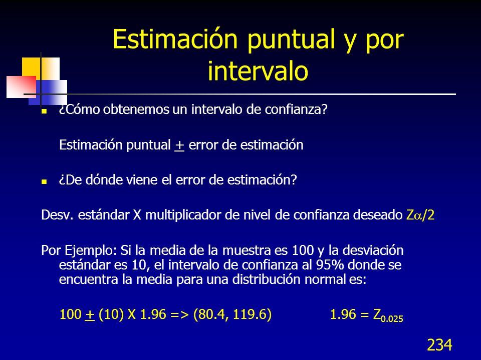 234 Estimación puntual y por intervalo ¿Cómo obtenemos un intervalo de confianza? Estimación puntual + error de estimación ¿De dónde viene el error de