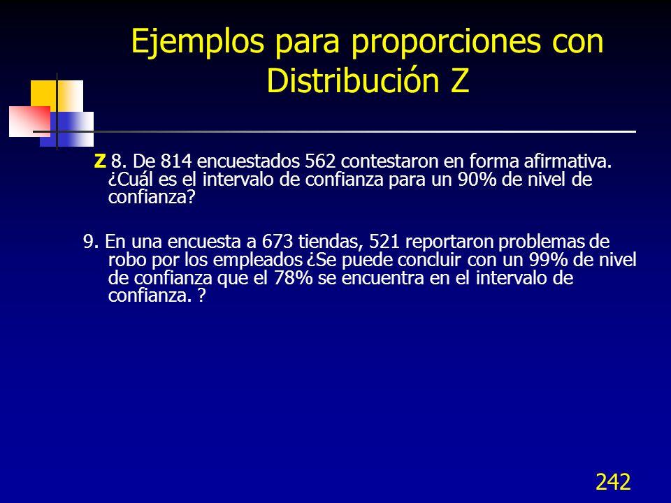 242 Ejemplos para proporciones con Distribución Z Z 8. De 814 encuestados 562 contestaron en forma afirmativa. ¿Cuál es el intervalo de confianza para