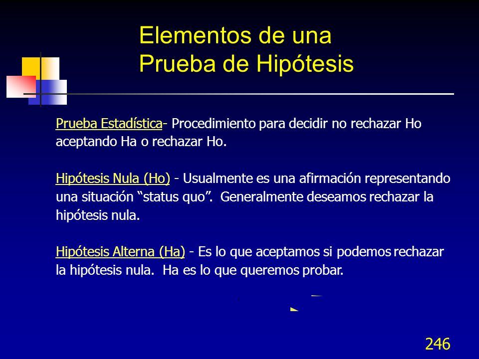 246 Elementos de una Prueba de Hipótesis Prueba Estadística- Procedimiento para decidir no rechazar Ho aceptando Ha o rechazar Ho. Hipótesis Nula (Ho)