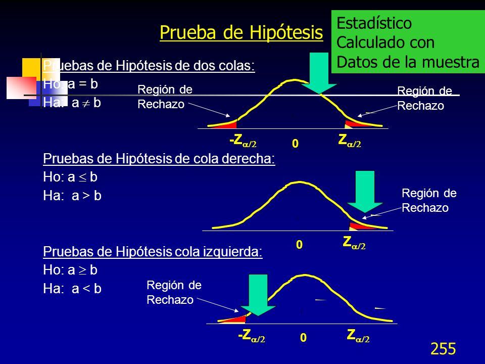 255 Prueba de Hipótesis Pruebas de Hipótesis de dos colas: Ho: a = b Ha: a b Pruebas de Hipótesis de cola derecha: Ho: a b Ha: a > b Pruebas de Hipóte