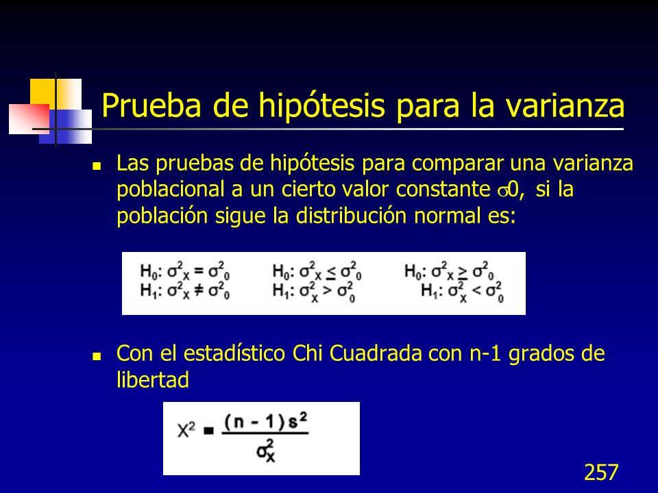 257 Prueba de hipótesis para la varianza Las pruebas de hipótesis para comparar una varianza poblacional a un cierto valor constante 0, si la població