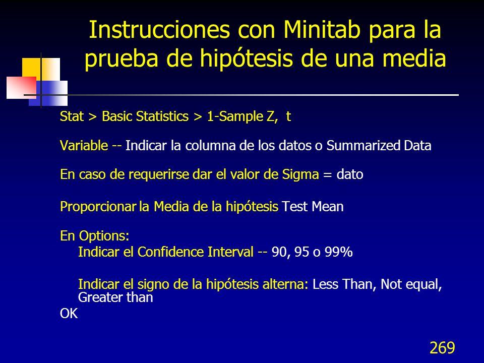 269 Instrucciones con Minitab para la prueba de hipótesis de una media Stat > Basic Statistics > 1-Sample Z, t Variable -- Indicar la columna de los d