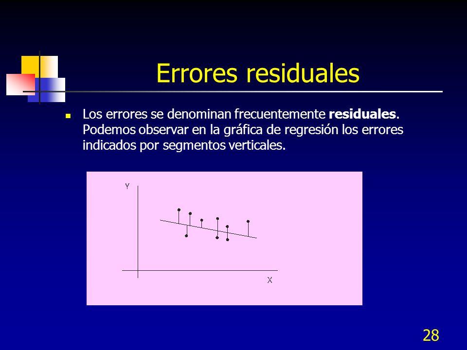 28 Errores residuales Los errores se denominan frecuentemente residuales. Podemos observar en la gráfica de regresión los errores indicados por segmen