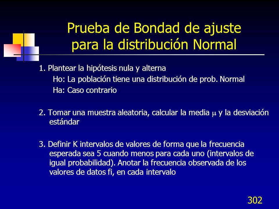 302 Prueba de Bondad de ajuste para la distribución Normal 1. Plantear la hipótesis nula y alterna Ho: La población tiene una distribución de prob. No