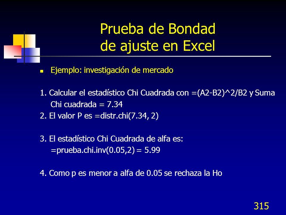 315 Prueba de Bondad de ajuste en Excel Ejemplo: investigación de mercado 1. Calcular el estadístico Chi Cuadrada con =(A2-B2)^2/B2 y Suma Chi cuadrad