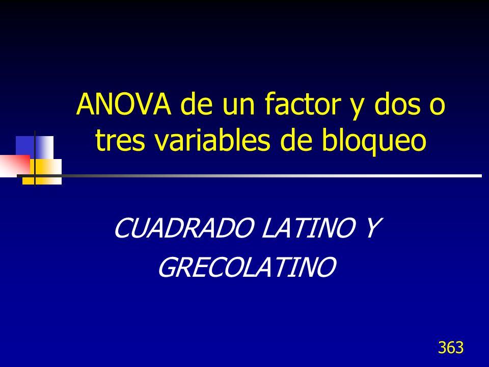 363 ANOVA de un factor y dos o tres variables de bloqueo CUADRADO LATINO Y GRECOLATINO