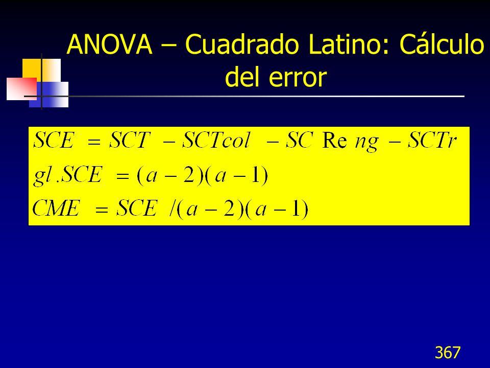 367 ANOVA – Cuadrado Latino: Cálculo del error