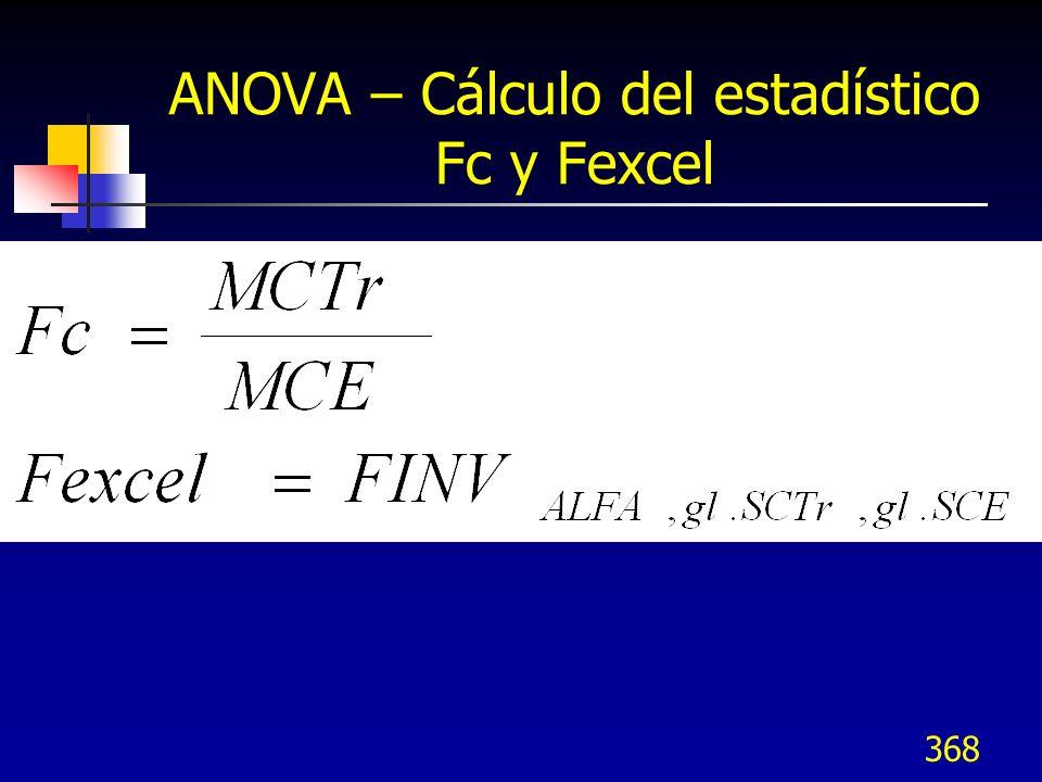 368 ANOVA – Cálculo del estadístico Fc y Fexcel