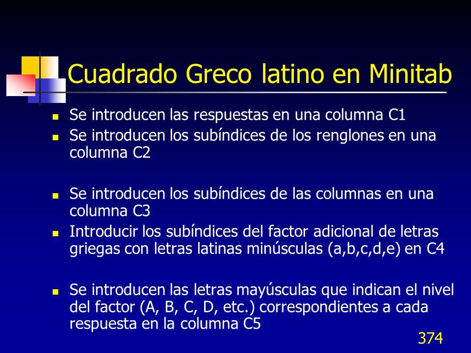374 Cuadrado Greco latino en Minitab Se introducen las respuestas en una columna C1 Se introducen los subíndices de los renglones en una columna C2 Se